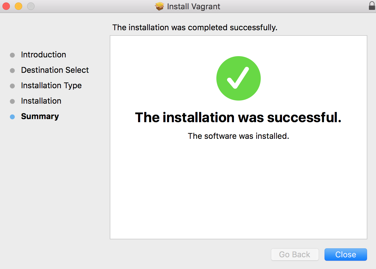 Vagrant Installation Complete Message in Mac