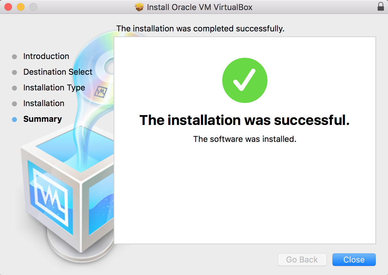 VirtualBox Installation Complete Message
