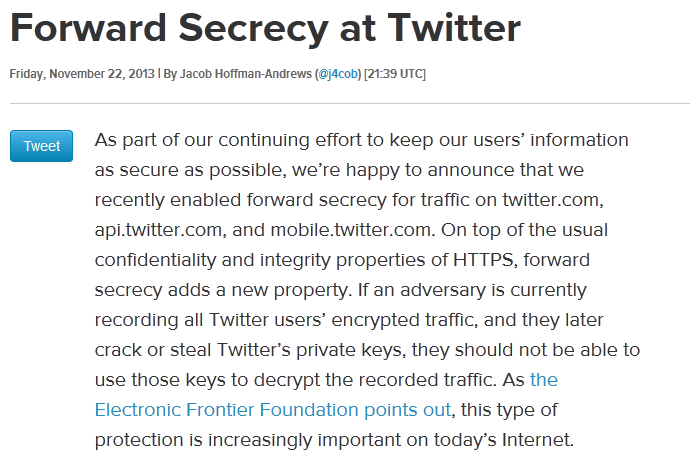 Twitter and forward secrecy